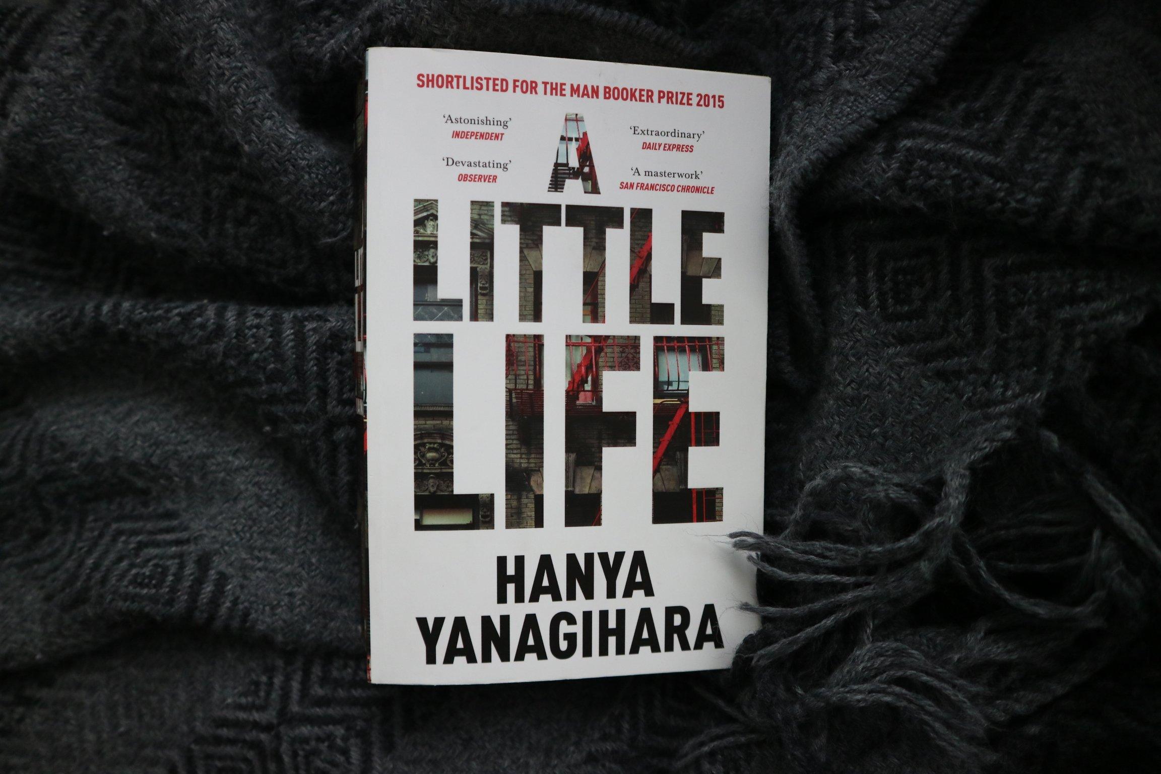 Paperback copy of A Little Life by Hanya Yanagihara on a grey tasseled blanket